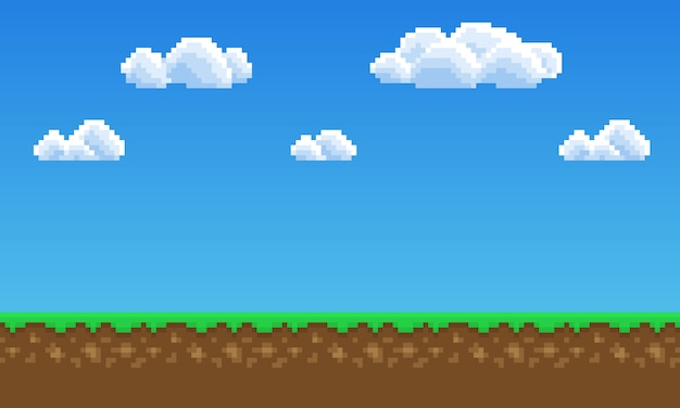 Pixel art game background, grass, sky and clouds Vector Premium