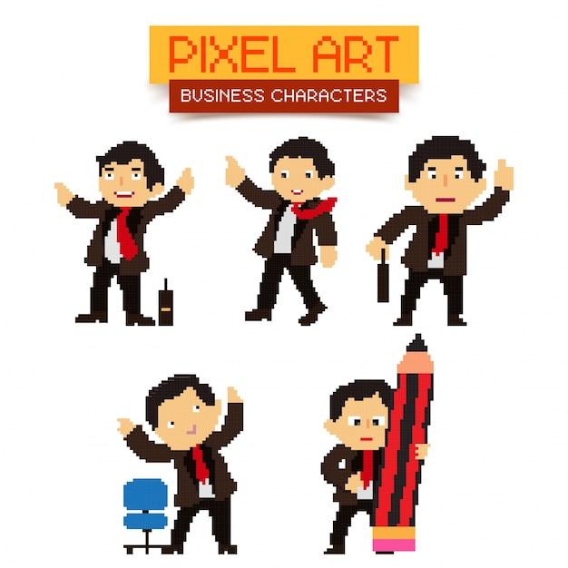 Pixel art personajes de los hombres de negocios. | Descargar ...