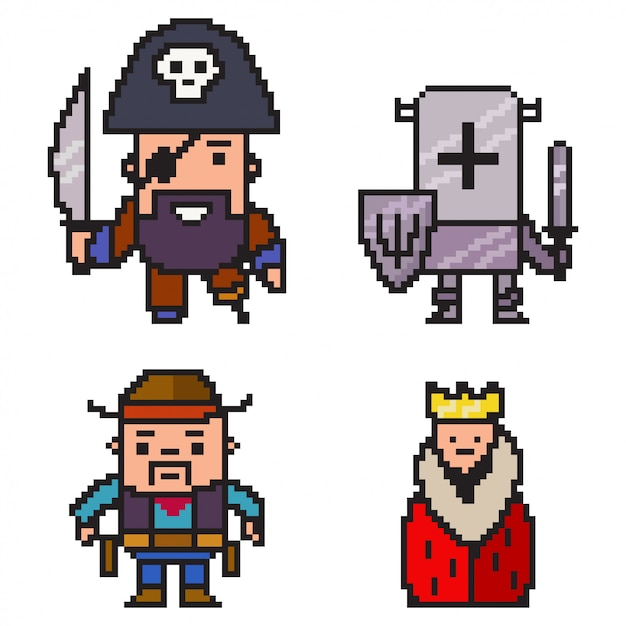 Pixel art pirata, caballero, vaquero y reina. juego de caracteres de 8 bits aislado sobre fondo blanco. Vector Premium
