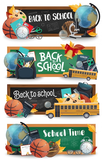 Pizarra escolar, material educativo, pancartas de autobús. Vector Premium