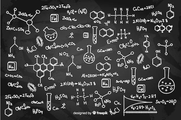 Pizarra química dibujada a mano vector gratuito