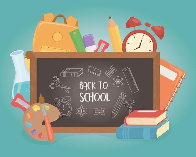 Pizarra y suministros de regreso a la escuela. vector gratuito