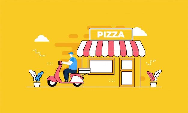 Pizza a domicilio en estilo plano Vector Premium