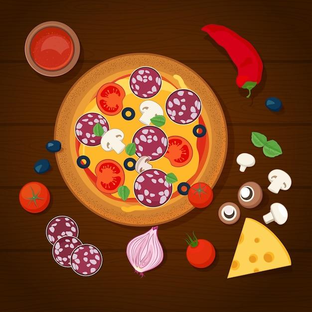 Pizza e ingredientes sobre fondo de madera Vector Premium