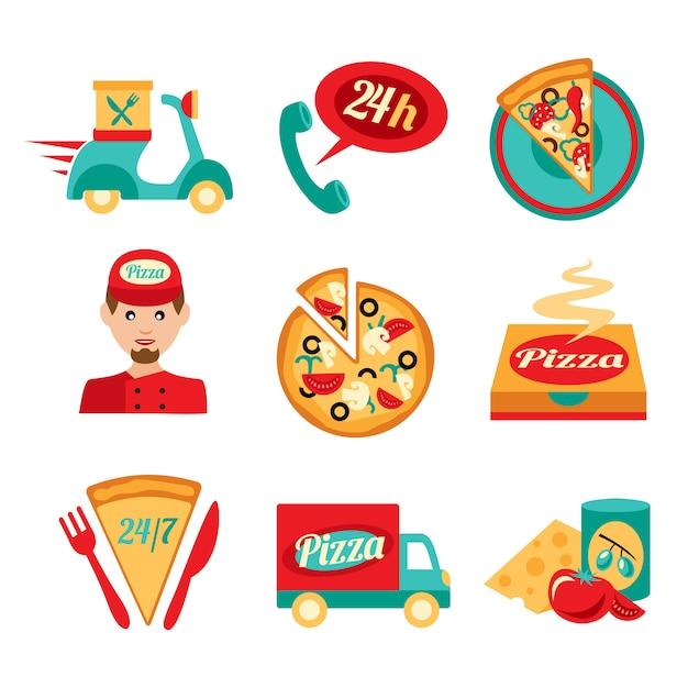 Pizza fast delivery icons set vector gratuito