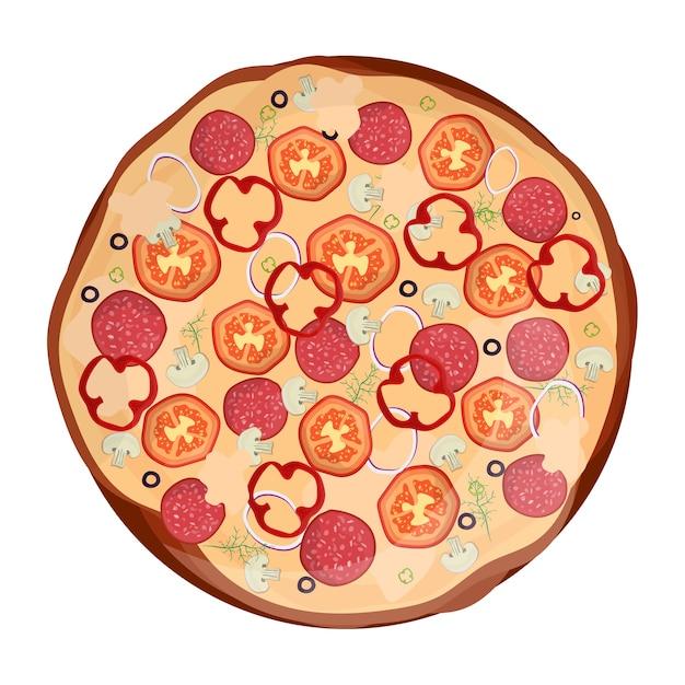 Pizza fresca con tomate, queso, aceituna, chorizo, cebolla. comida rápida italiana tradicional. comida de vista superior. merienda europea. fondo blanco aislado. Vector Premium