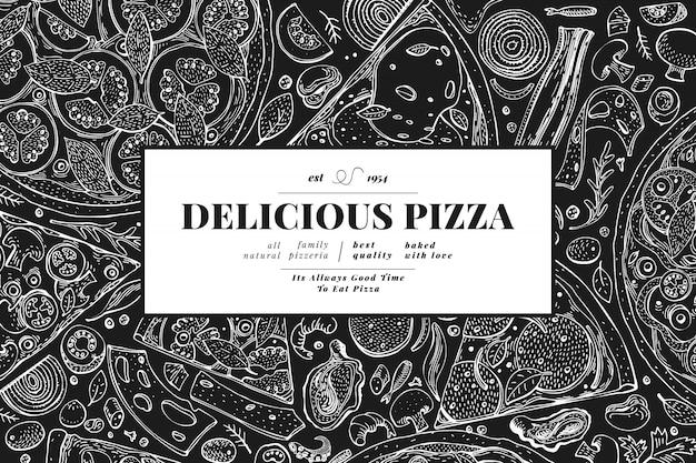Pizza italiana y marco de ingredientes. plantilla de diseño de banner de comida italiana. Vector Premium