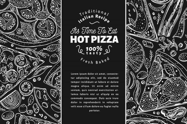 Pizza italiana y plantilla de fondo de ingredientes Vector Premium