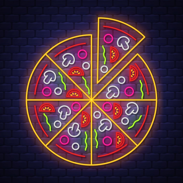 Pizza neon sign Vector Premium