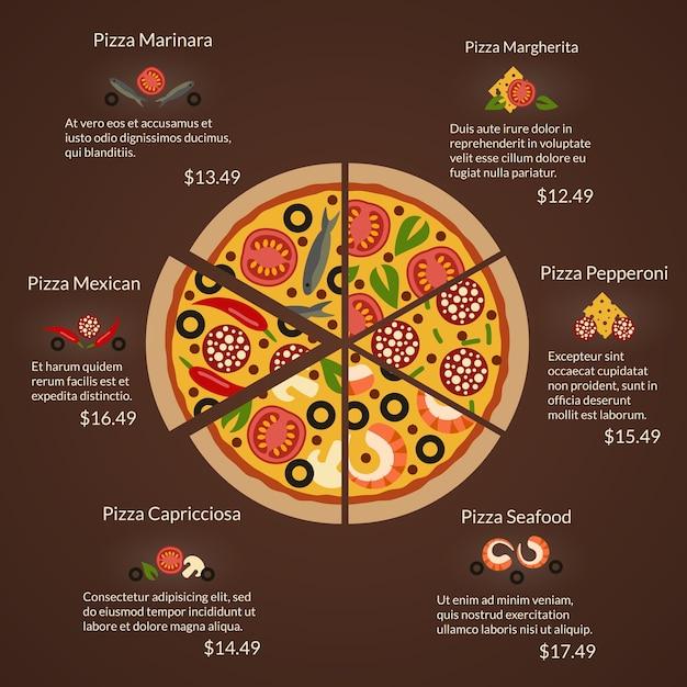 Pizza redonda con porciones e ingredientes de diferentes tipos en estilo plano. mariscos y margherita, capricciosa y pepperoni, mexicana y marinara vector gratuito