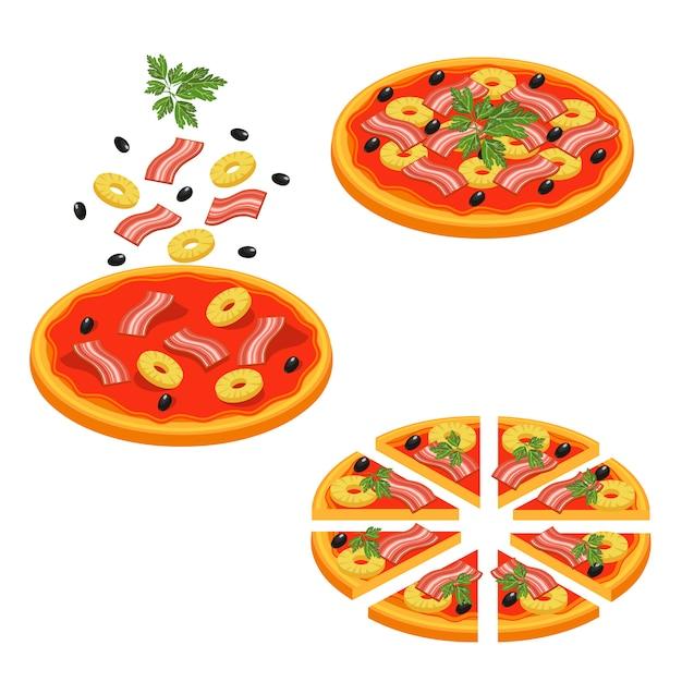 Pizza en rodajas conjunto de iconos isométricos vector gratuito