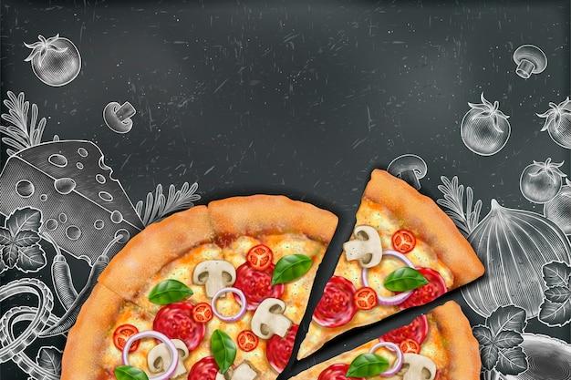 Pizza sabrosa con ricos aderezos sobre fondo de doodle de tiza de estilo grabado, espacio de copia para el lema Vector Premium