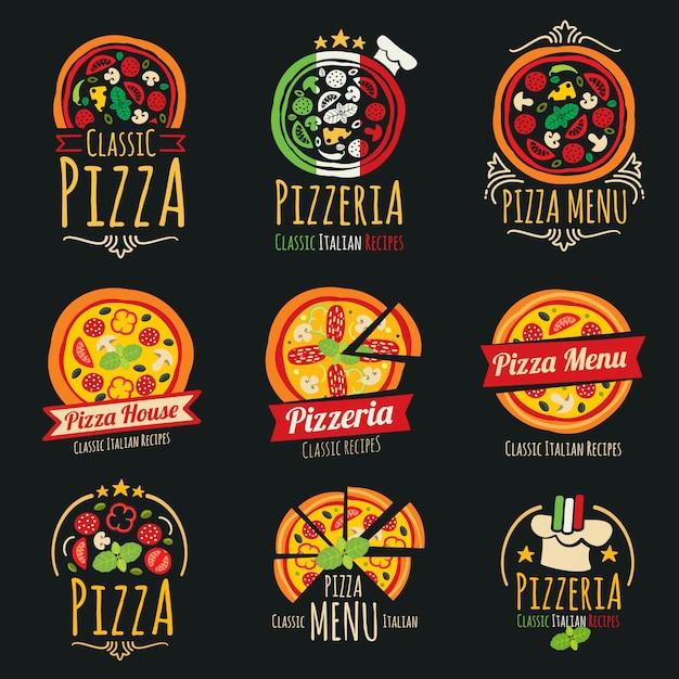 Pizza vector logos. plantilla de logotipo de restaurante de cocina italiana pizzería Vector Premium