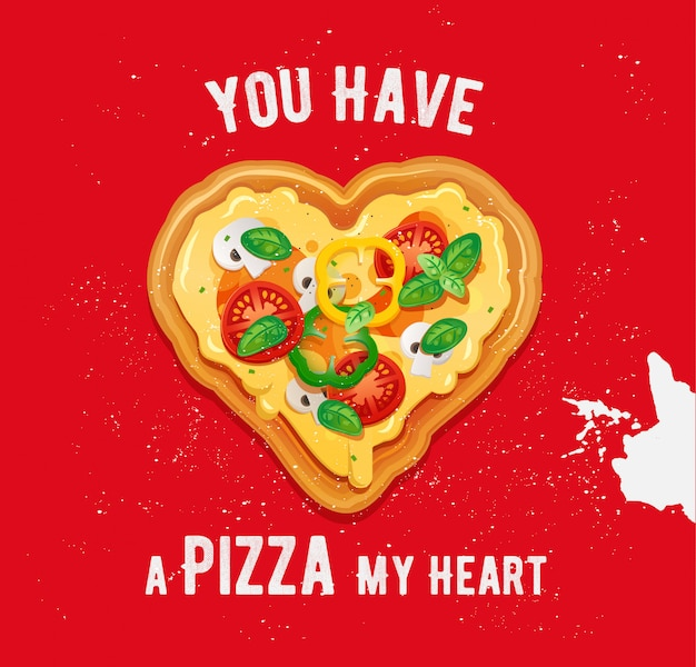 Pizza vegetariana en forma de corazón con ingredientes de queso, tomate, pimientos y champiñones. vector de san valentín con comida rápida italiana Vector Premium