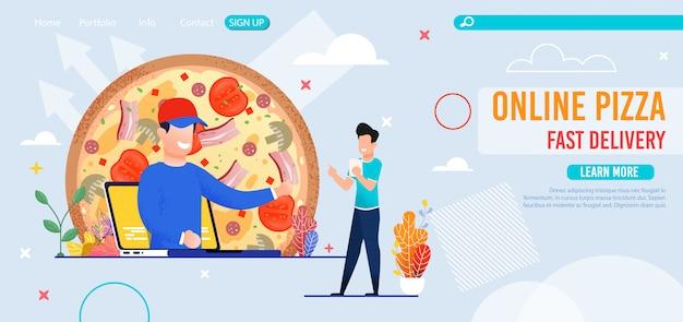 Pizzería en línea con página de destino de entrega rápida Vector Premium
