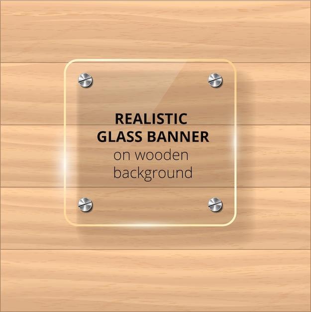 Placa de vidrio transparente. fondo de madera amarilla. elemento decorativo panel de plástico brillante con reflejo, sombra. Vector Premium