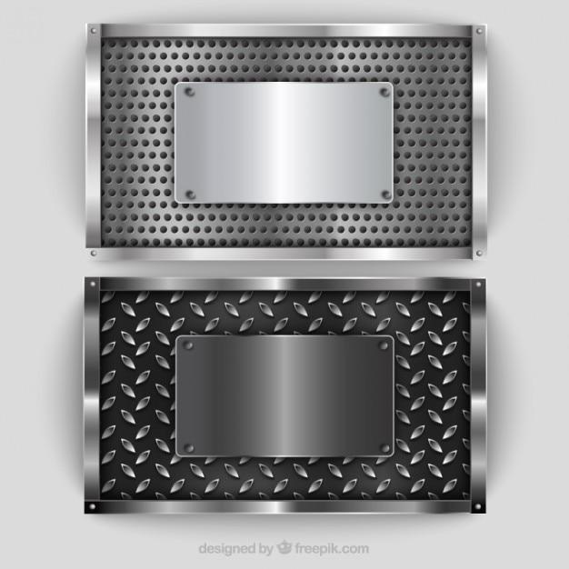 Placas de plata metálicos paquete vector gratuito