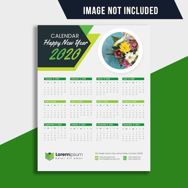 Plan de calendario de una página 2020 Vector Premium