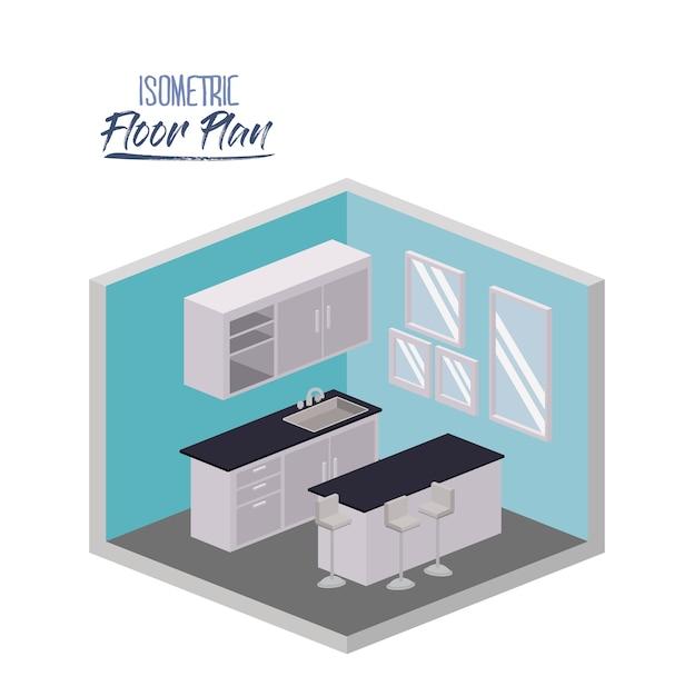 Plan de piso isométrico de cocina con encimera y gabinete ...