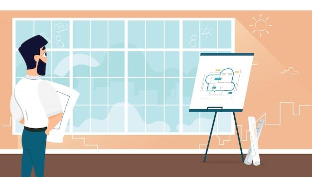 Plan de diseño de la sala de examen arquitecto masculino vector gratuito
