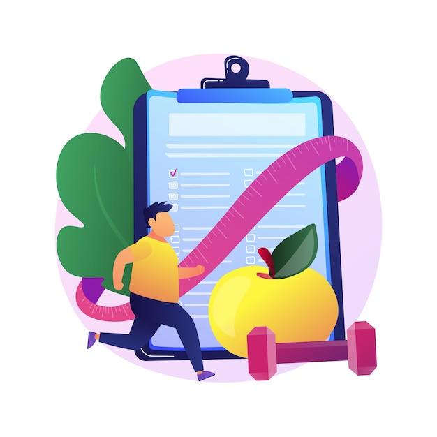 Plan de entrenamiento. personaje de dibujos animados poniéndose en forma. construcción de músculo, pérdida de grasa, fitness. hombre haciendo ejercicios de levantamiento de pesas con mancuernas y corriendo. vector gratuito