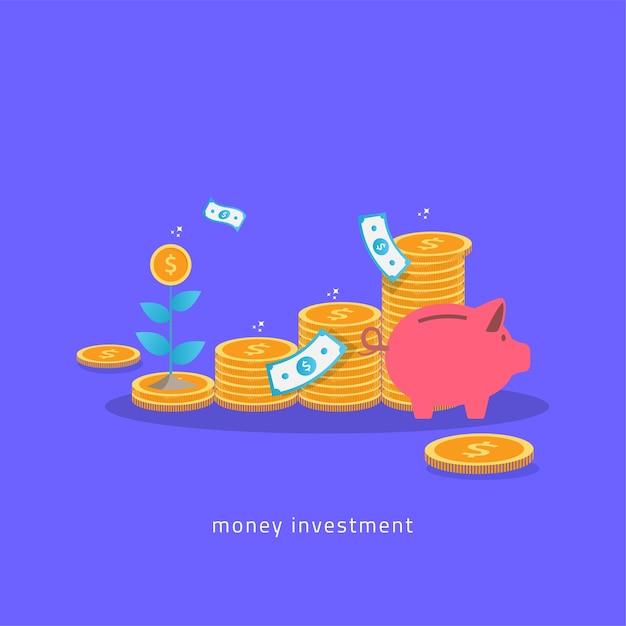 Plan de inversión de dinero con monedas hucha y concepto de planta Vector Premium