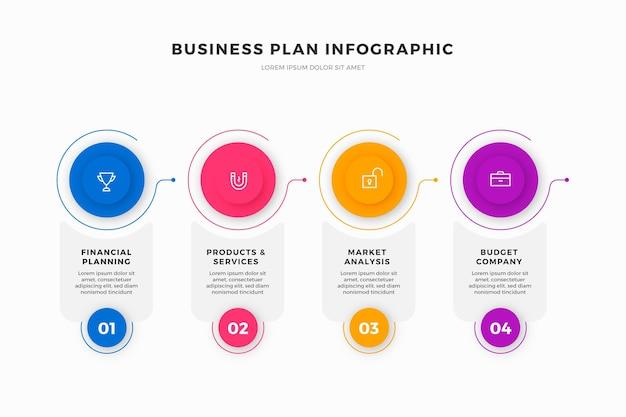 Plan de negocios infografía Vector Premium