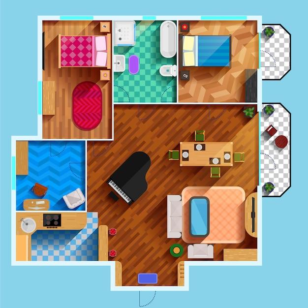 Plan de piso arquitectónico vector gratuito