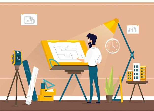 Plan de piso del proyecto de la casa de dibujo del arquitecto del hombre en draftsman studio con escritorio ajustable del tablero de dibujo Vector Premium
