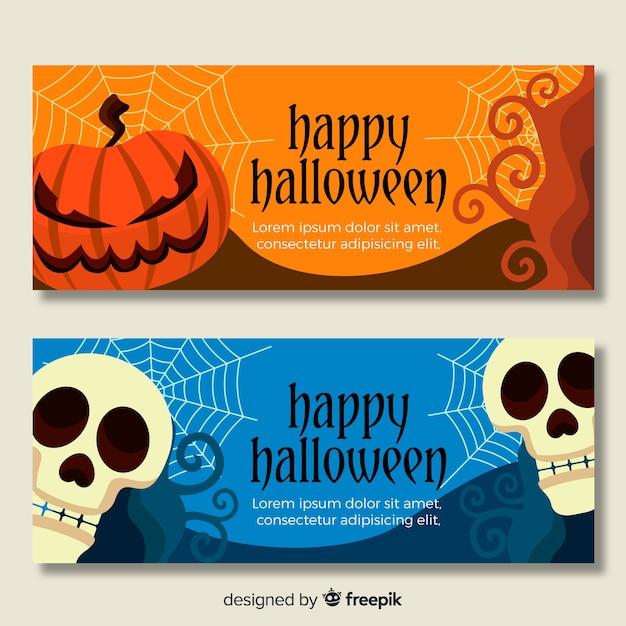 Plana pancartas de halloween con calavera y calabazas vector gratuito
