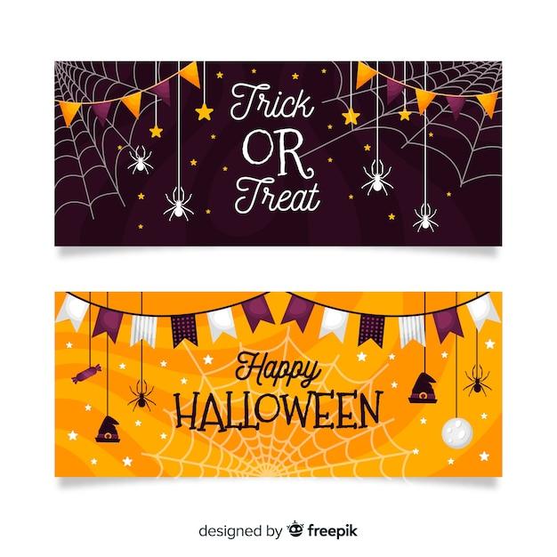 Plana pancartas de halloween con guirnaldas espeluznantes vector gratuito