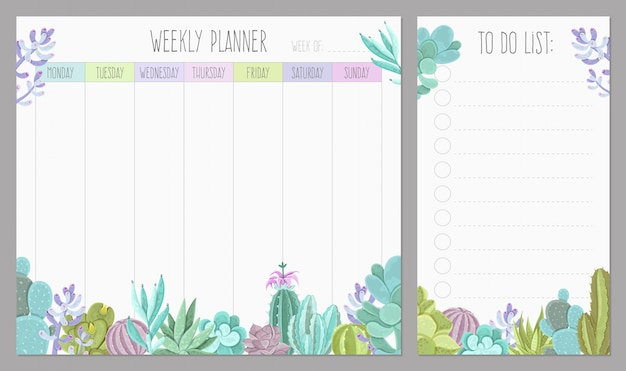 Planeador semanal vector gratuito