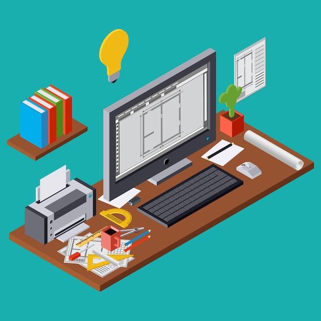 Planeamiento de la arquitectura, proyecto, lugar de trabajo del arquitecto, ejemplo isométrico plano 3d del diseño interior del ordenador. concepto gráfico moderno web Vector Premium