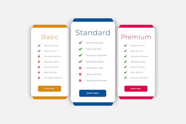 Planes y tabla de precios plantilla web empresarial vector gratuito