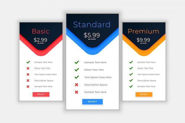 Planes web y plantilla de precios para comparar vector gratuito