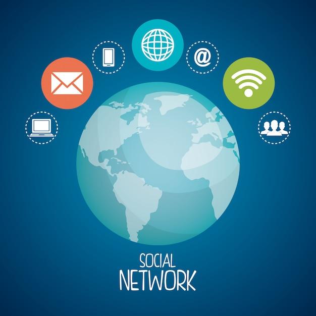 Planeta con iconos de redes sociales vector gratuito