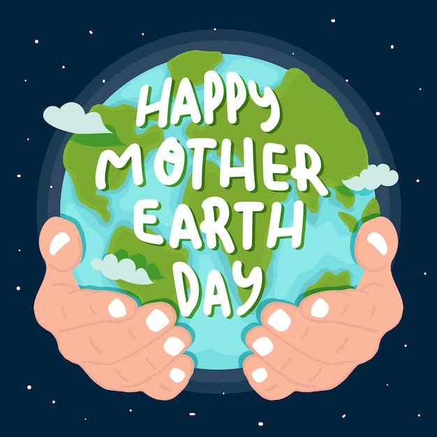 Planeta madre tierra dibujado a mano en manos vector gratuito