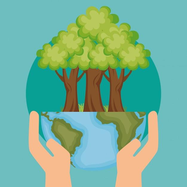 Planeta mundial con icono de ecología de árbol vector gratuito