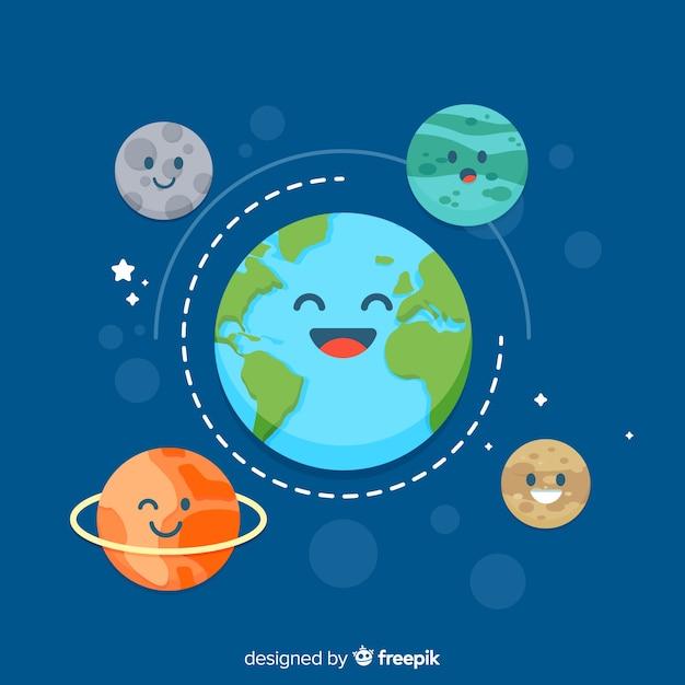 Planeta Tierra Adorable Con Estilo De Dibujo Animado Descargar