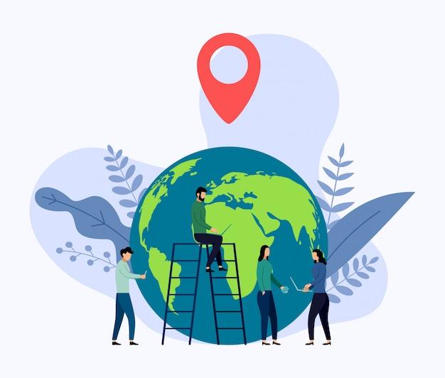 Planeta tierra con pin de mapa rojo Vector Premium