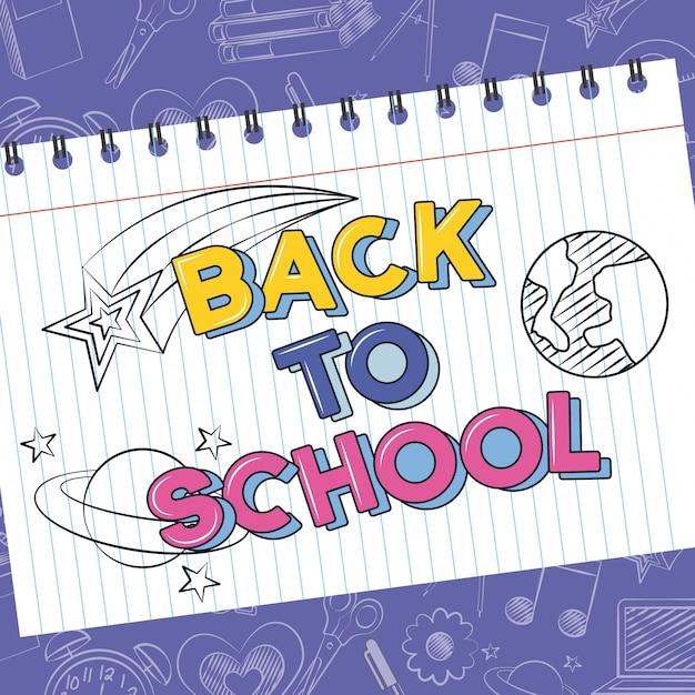 Planetas, cometa y estrella en el cuaderno, garabato de regreso a la escuela dibujado en una hoja de cuadrícula vector gratuito