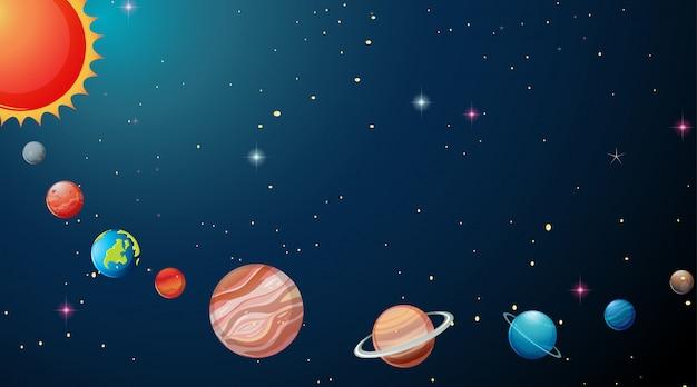 Planetas en el fondo del sistema solar vector gratuito