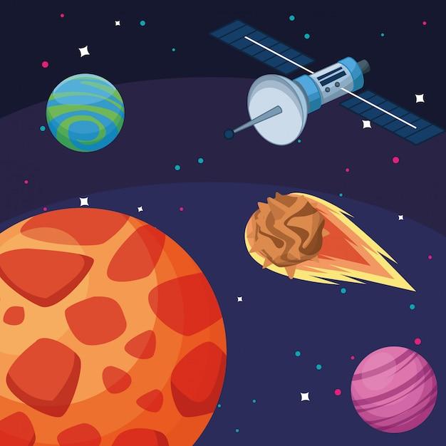 Planetas satelitales asteroide galaxia astronomía exploración espacial Vector Premium