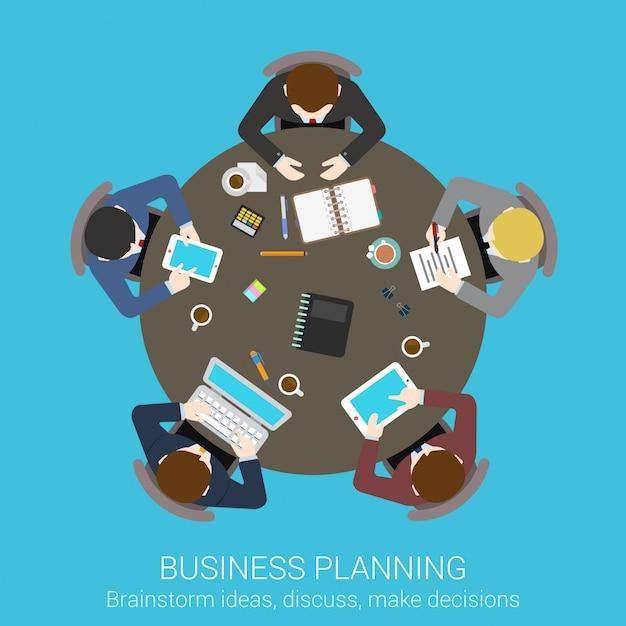 Planificación de negocios lluvia de ideas concepto de vista superior. las personas que se sientan en la mesa de reunión redonda vector ilustración. Vector Premium