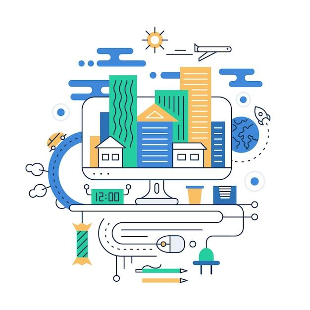 Planificación de viajes. ilustración de la composición de la ciudad de línea moderna con edificios de la ciudad y elementos de infografías de viajes Vector Premium