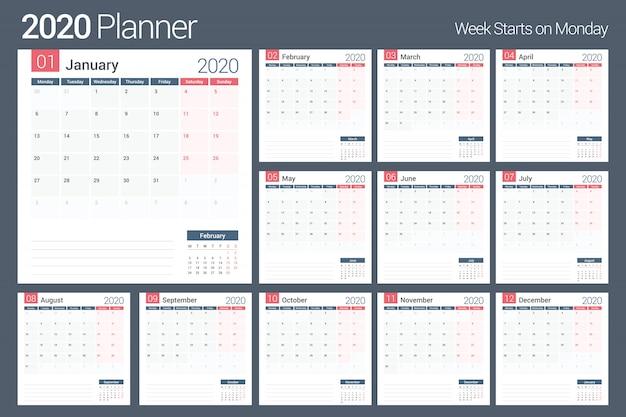 Planificador del calendario 2020 Vector Premium