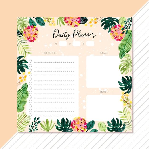 Planificador diario con fondo acuarela de plantas tropicales. Vector Premium