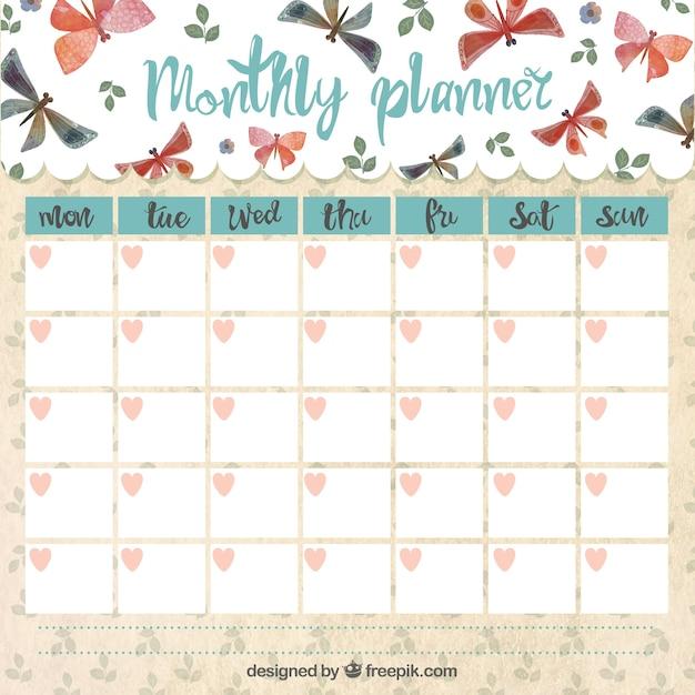Planificador mensual con mariposas | Descargar Vectores Premium