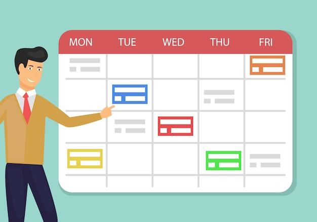 Planificador planificador concepto planificación semana laboral. Vector Premium