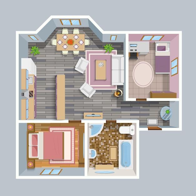 Plano arquitectónico plano vista superior vector gratuito